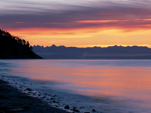 Sunset over lakeshore
