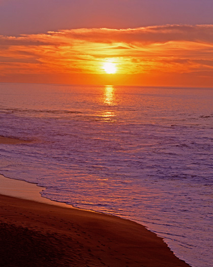 Red sunset over seashore