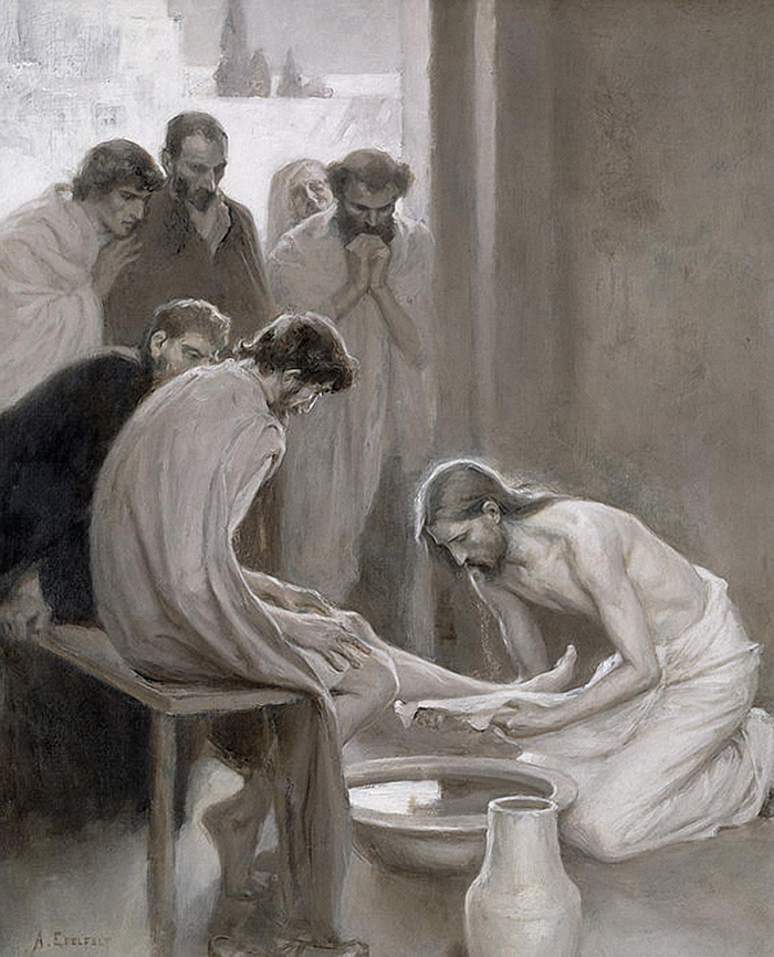 Jesus Washing the Feet of his Disciples by Albert Gustaf Aristides Edelfelt