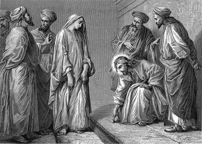 The woman taken in adultery by Alexandre Bida
