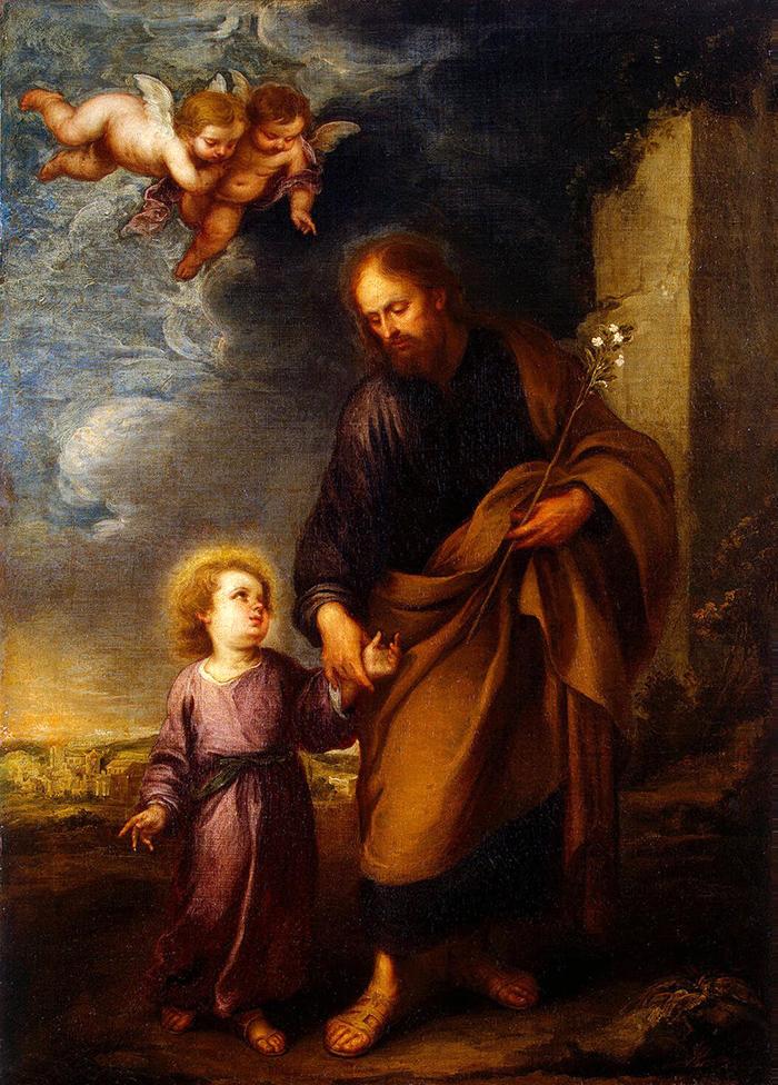 St Joseph leading the Christ child (detail) by Bartolome Esteban Murillo