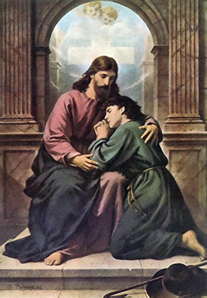 The consoling Christ by Bernhard Plockhorst