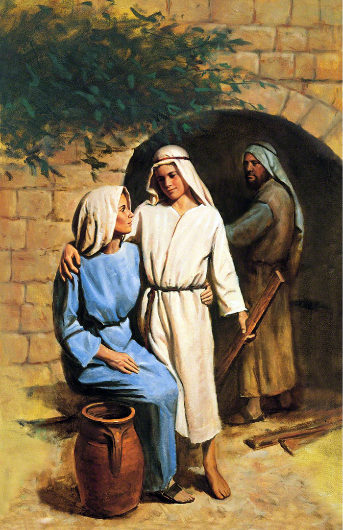 Young Jesus comforting his mother by Del Parson