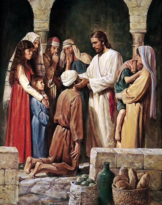 Christ healing the blind man (Cristo la curación del ciego) by Del Parson