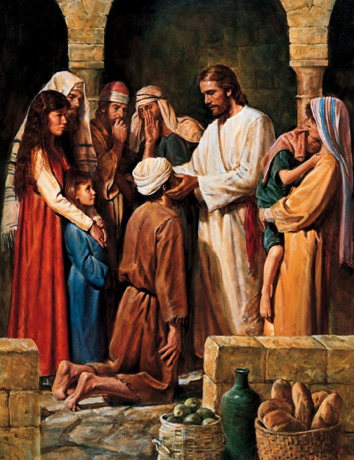 Jesus Restores Vision to a Blind Man by Del Parson