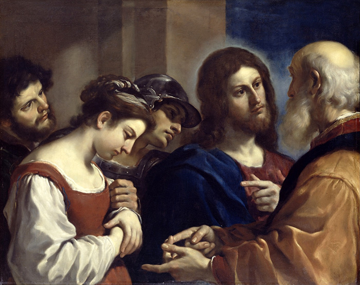 Christ with the Woman Taken in Adultery by Guercino