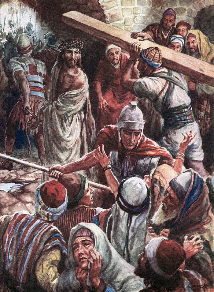 Simon Of Cyrene Carries Jesus Cross by Harold Copping