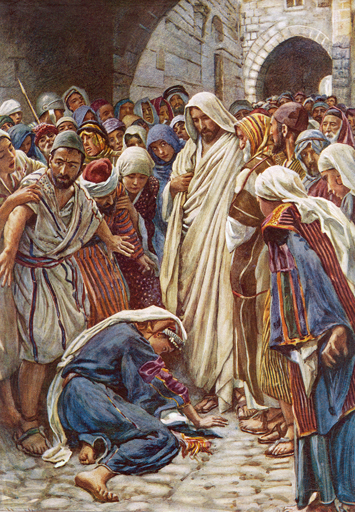 The woman who touched the hem of his garment by Harold Copping