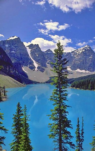 Rocky Mountains over blue lake