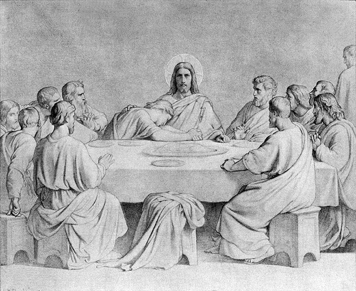 Last Supper sketch by Hippolyte Flandrin