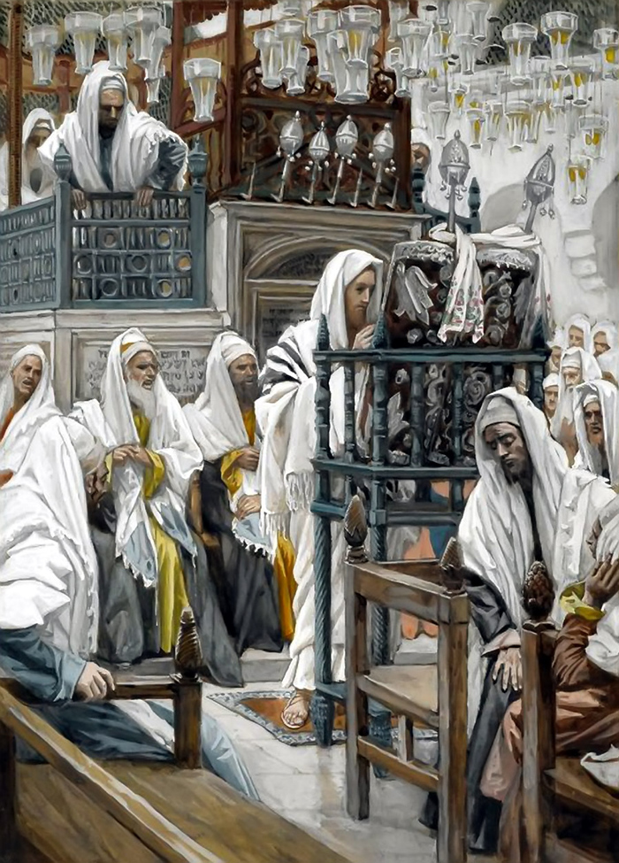 Jesus Unrolls the Book in the Synagogue by James Tissot