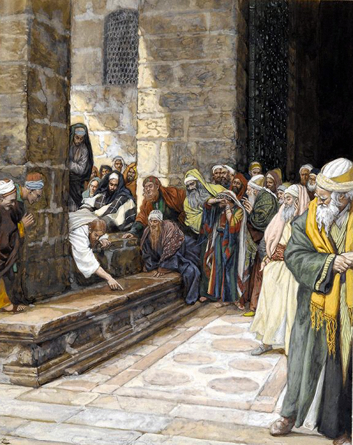 The adulterous woman - Christ writing upon the ground by James Tissot