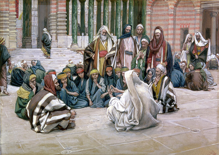 Jesus Speaks Near the Treasury by James Tissot