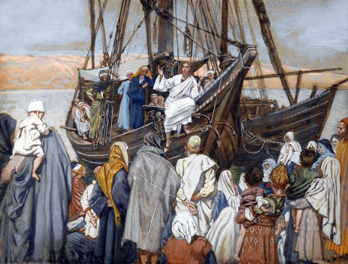 Jesus Preaching on a Boat by James Tissot