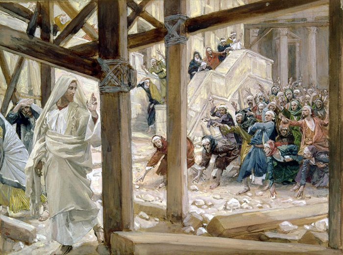 The Jews Took Up Rocks to Stone Jesus by James Tissot