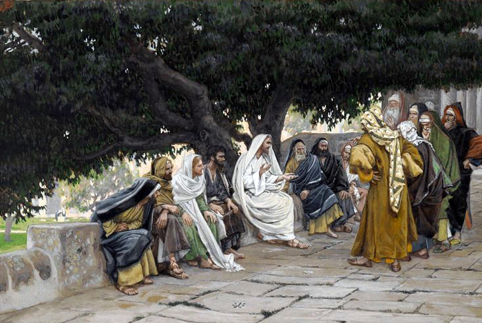 The Pharisees and the Saduccees Come to Tempt Jesus by James Tissot