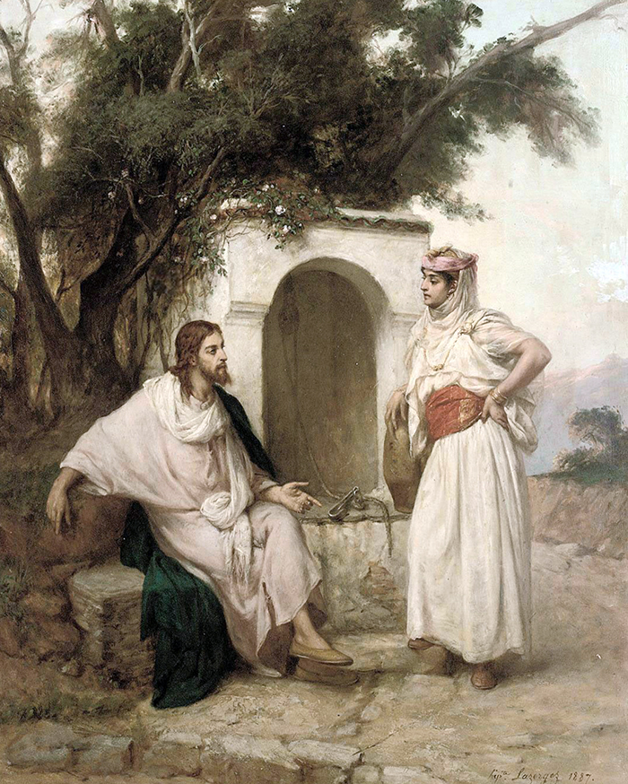 Christ and the woman of Samaria by Jean Raymond Hippolyte Lazerges