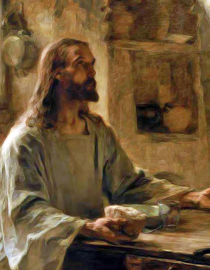 Supper at Emmaus detail by Leon Augustin Lhermitte