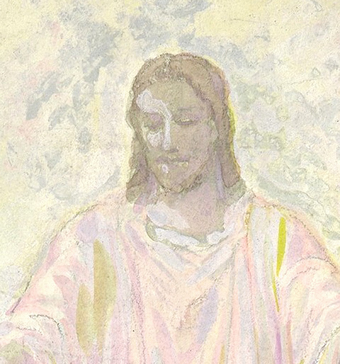 Drawing of a figure of Christ (detail) by Louis Comfort Tiffany
