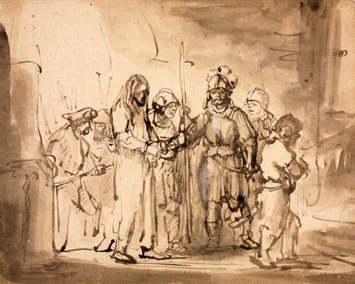 Christ taken before Caiaphas by Rembrandt