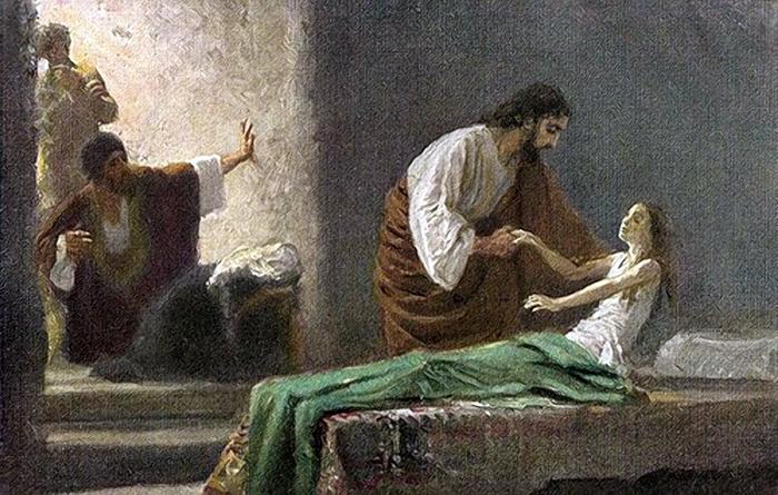 Resurrection of Jairus' daughter by Robert Leinweber