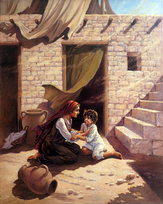 Jesus falling down the steps by Slawa Radziszewska