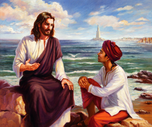 Jesus and Ganid at the Great Lighthouse by Slawa Radziszewska