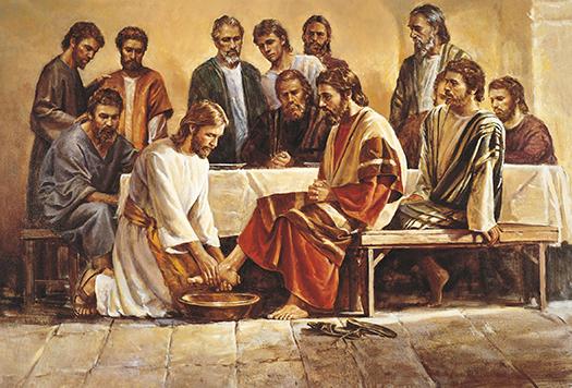Jesus washing apostles feet (Jesús lava los pies de los apóstoles) by Del Parson