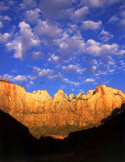 The formation called The Towers of the Virgin in Zion National Park located in southwest Utah.