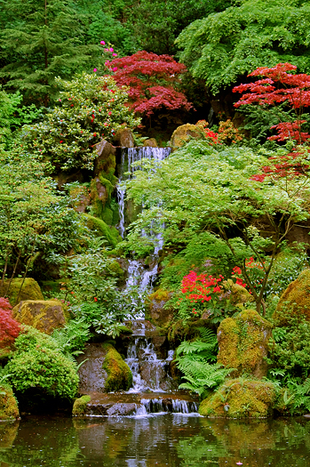 Japanese Garden Waterfall in Portland, Oregon