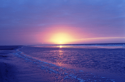 Sunset over the blue ocean seen from the shore