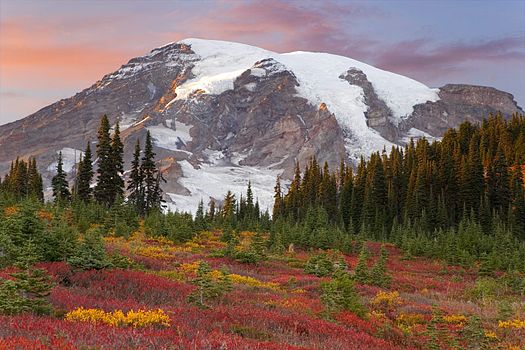 Snowy mountains with forefront of Fall colors