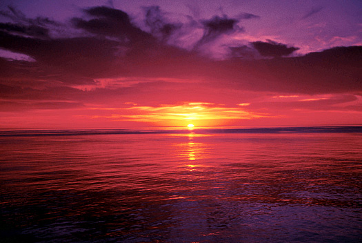 Brilliant red-purple sunset over the ocean