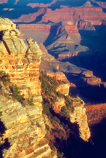 Dramatic rocky landscape of Grand Canyon