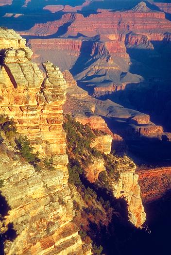Dramatic rocky landscape of Grand Canyon