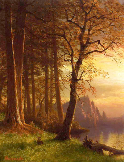 Sunset in California - Yosemite by Albert Bierstadt