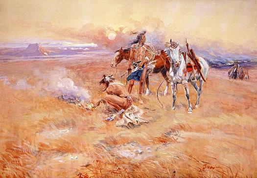 Blackfeet Burning Crow Buffalo Range by Charles Marion Russell
