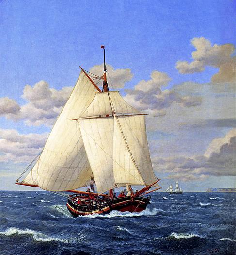 A Danish Yacht Passing Stevns by Christoffer Wilhelm Eckersberg