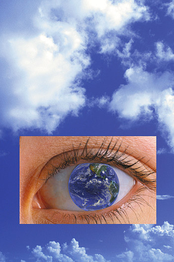 Blue sky and white clouds with an inset photo of a close up human eye with the earth as its center