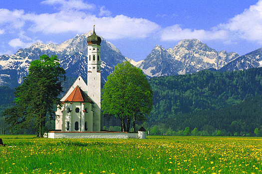 Russian church in a field with yellow flowers. Mountains in the background.
