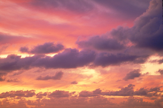 Purple haze sunset with clouds