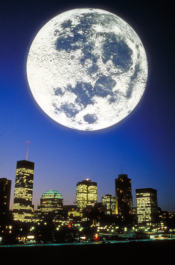 Montreal skyline with full moon