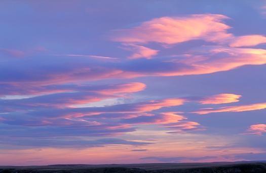 Sunset over Montana grasslands, Montana, USA
