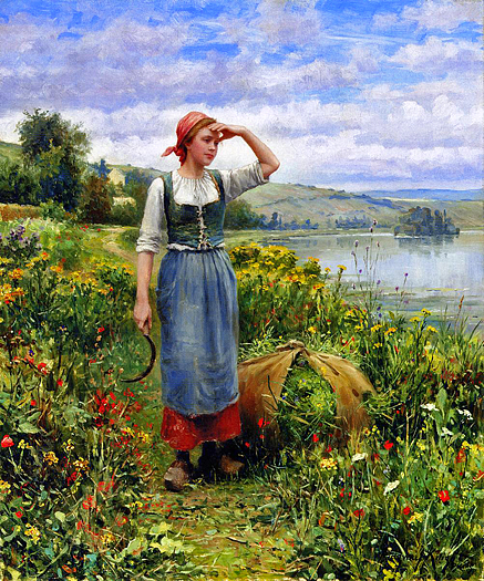 A Field of Flowers by Daniel Ridgway Knight