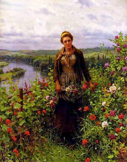 A Maid in Her Garden by Daniel Ridgway Knight