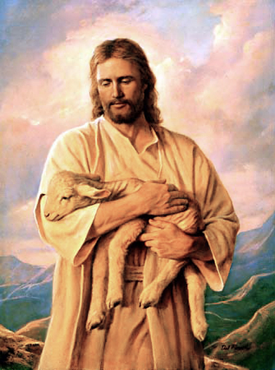 Jesus with lamb by Del Parson