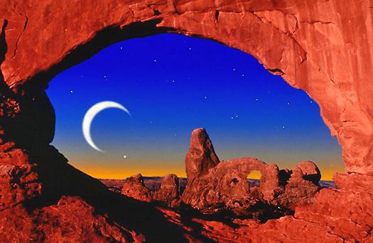 Sickle moon, night, rock arch
