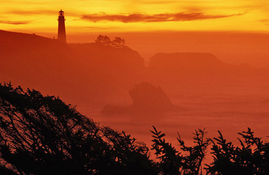 Lighthouse, sea, red sunset