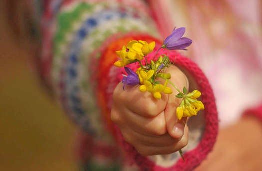 Child giving flowers