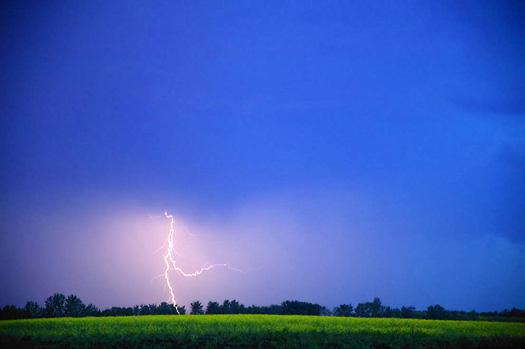 Lightning over a farm field